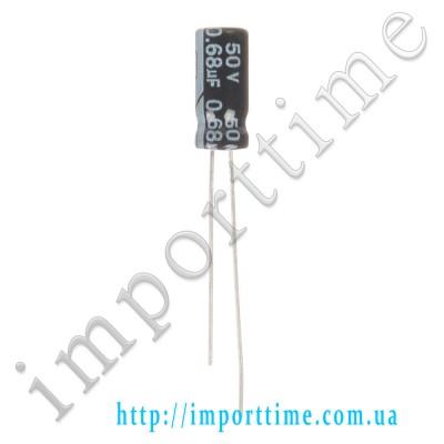 Конденсатор электролитический 0,68мкФx 50В, 105°C, 5x11