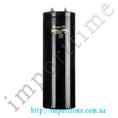 Конденсатор электролитический 10000мкФx 400В, 105°C, 75X220