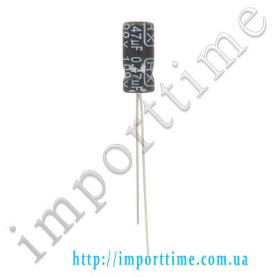 Конденсатор электролитический 0,47мкФx 100В, 105°C, 5x11